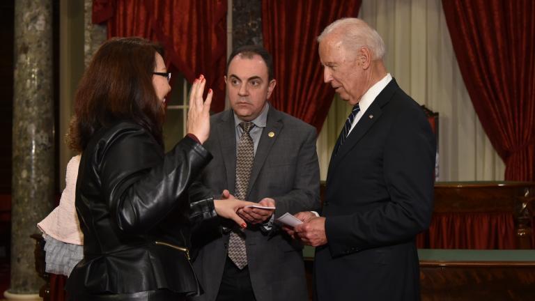 Tammy Duckworth (left) is sworn in as senator Tuesday.