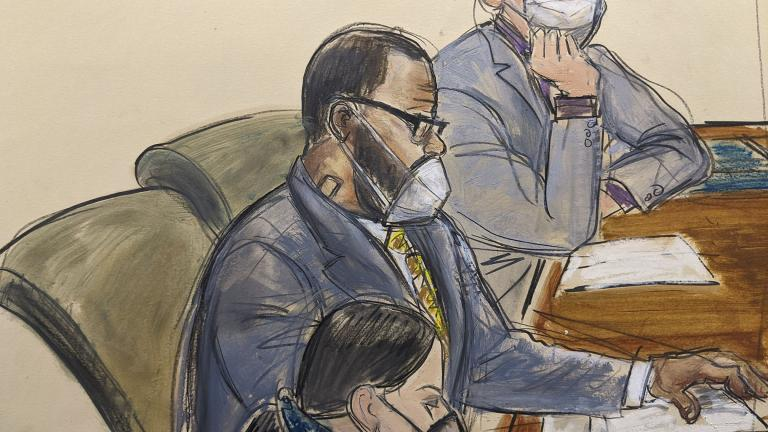 In this courtroom sketch, R. Kelly, center, sits with his defense attorneys Thomas Farinella, top, and Nicole Blank Becker during the first day of his defense in his sex trafficking case, Monday, Sept. 20, 2021, in New York. (AP Photo / Elizabeth Williams)
