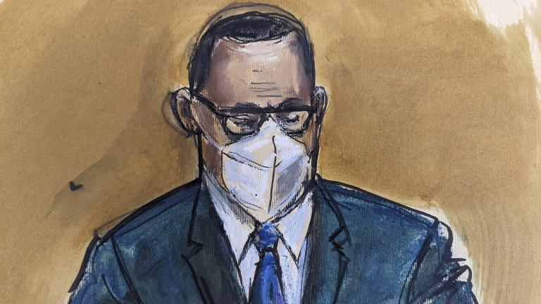 In this courtroom sketch, R. Kelly listens as the jury foreperson reads the verdict, Monday, Sept. 27, 2021, in New York. (AP Photo / Elizabeth Williams)