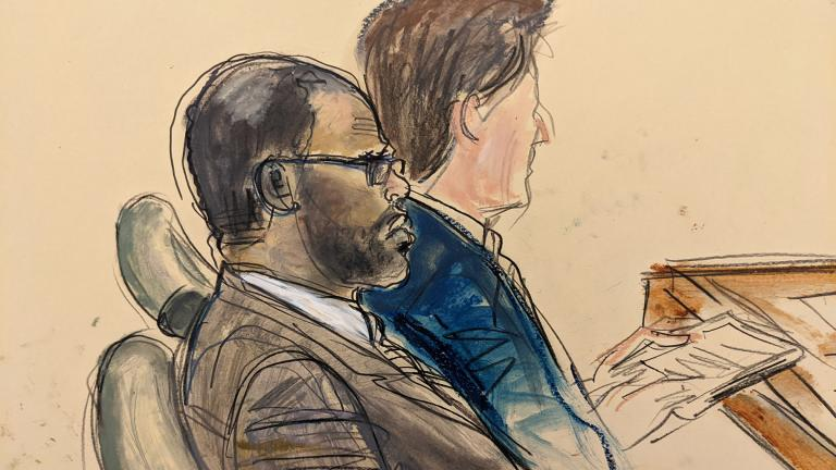In this courtroom artist's sketch made from a video screen monitor of a Brooklyn courtroom, defendant R. Kelly, left, listens during the opening day of his trial, Wednesday, Aug. 18, 2021 in New York. (AP Photo / Elizabeth Williams)