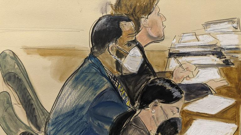 """In this courtroom artist's sketch R. Kelly, left, listens during his trial in New York, Thursday, Aug. 26, 2021. The 54-year-old Kelly has repeatedly denied accusations that he preyed on several alleged victims during a 30-year career highlighted by his mega hit """"I Believe I Can Fly."""" (AP Photo / Elizabeth Williams)"""