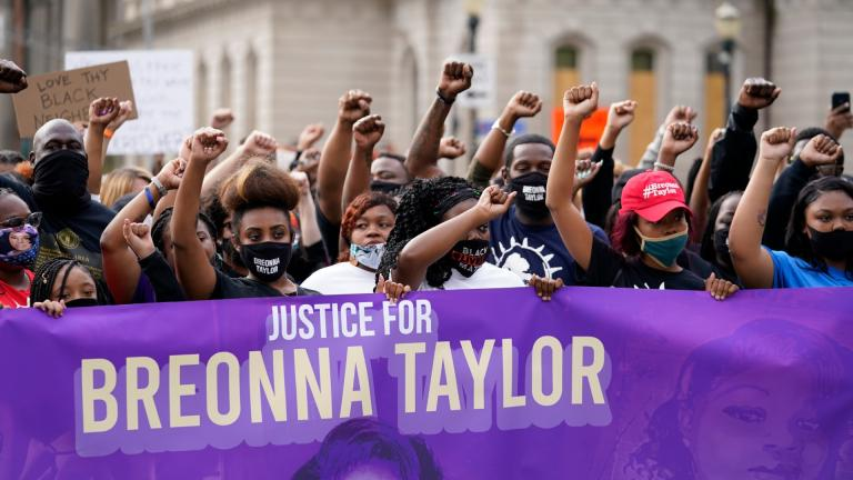 Black Lives Matter protesters march, Friday, Sept. 25, 2020, in Louisville. (AP Photo / Darron Cummings)