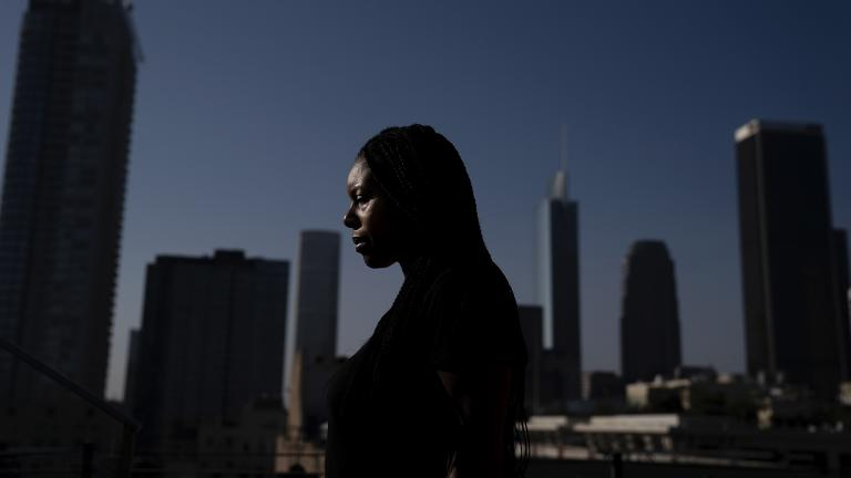 Efuru Flowers, a co-founder of Black Women Rally for Action, poses for photos Monday, Sept. 28, 2020, in Los Angeles. (AP Photo / Jae C. Hong)