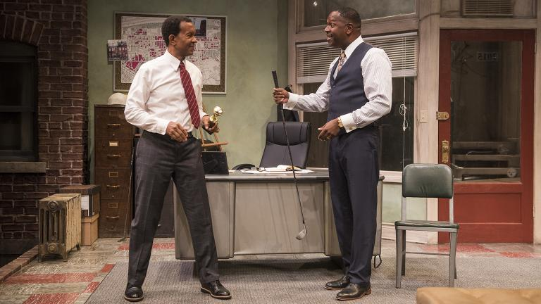 "Allen Gilmore, left, and James Vincent Meredith in ""Radio Golf"" at Court Theatre. (Photo by Michael Brosilow)"