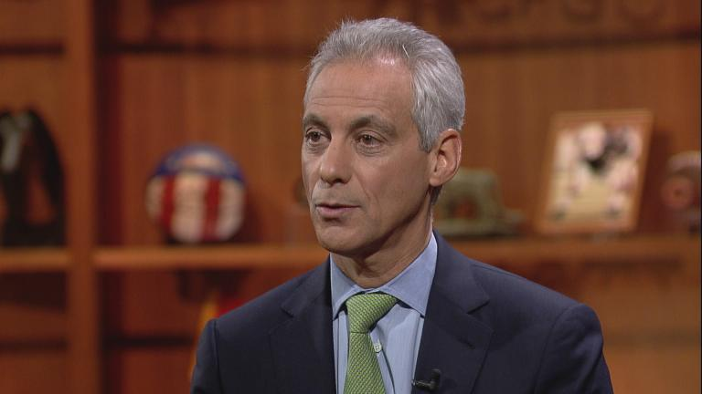 "Mayor Rahm Emanuel appears on ""Chicago Tonight"" on Jan. 24."