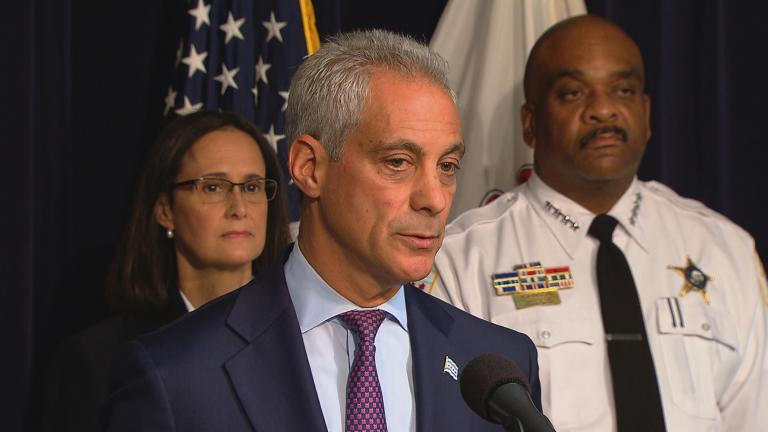 In this Aug. 29, 2017 file photo, Mayor Rahm Emanuel, Illinois Attorney General Lisa Madigan and Chicago Police Superintendent Eddie Johnson discuss developments in court oversight of police reform.