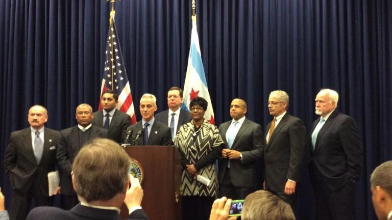 Mayor Rahm Emanuel and the working group that came up with the $13 minimum wage proposal take a victory lap after 44-5 vote.