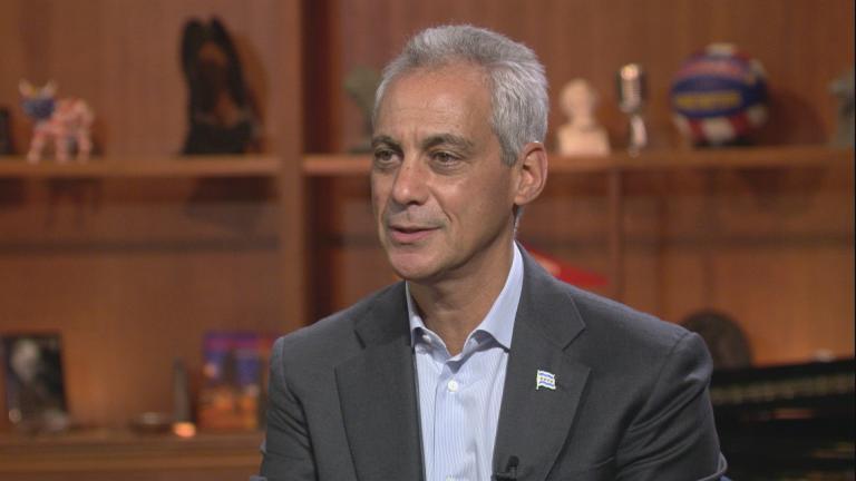 """Mayor Rahm Emanuel appears on """"Chicago Tonight"""" on Sept. 5, 2018."""