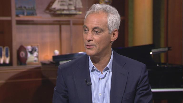 "Former Chicago Mayor Rahm Emanuel appears on ""Chicago Tonight"" on Sept. 25, 2019."