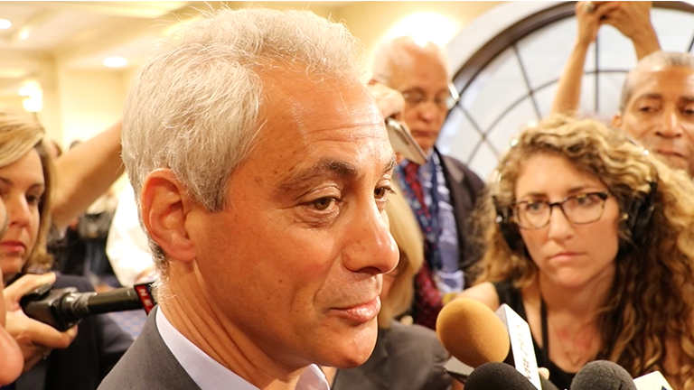 Chicago Mayor Rahm Emanuel at the Democratic National Convention on July 28, 2016. (Evan Garcia / Chicago Tonight)