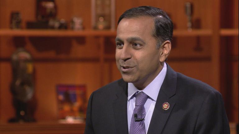 "Rep. Raja Krishnamoorthi (D-Illinois) appears on ""Chicago Tonight"" on July 29, 2019."