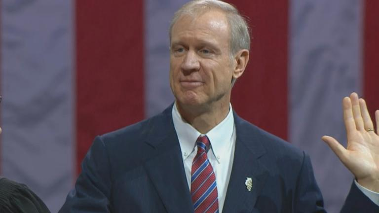 Bruce Rauner is sworn in as governor of Illinois on Jan. 12, 2015.