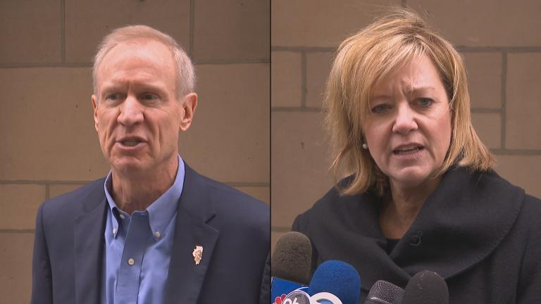 Gov. Bruce Rauner and state Rep. Jeanne Ives, R-Wheaton, speak to the media Monday following a debate at the Chicago Tribune.