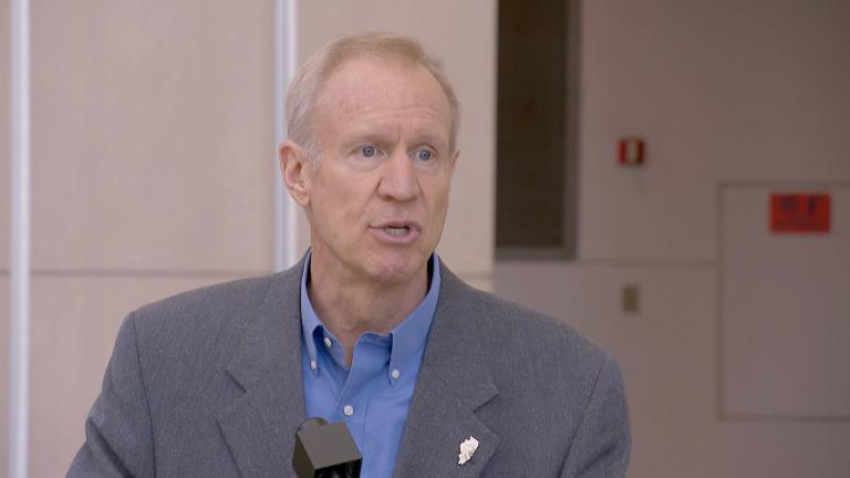 """McCann is being used as a pawn by Pritzker and Madigan,"" Gov. Bruce Rauner said Thusday, April 26, 2018."