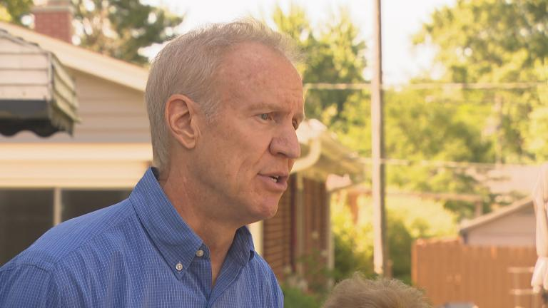 Gov. Bruce Rauner speaks to the media Monday, July 9, 2018. (Chicago Tonight)