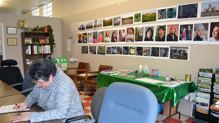 Peggy Salazar, director of the Southeast Environmental Task Force, works in the group's Hegewisch office in March. (Alex Ruppenthal / Chicago Tonight)