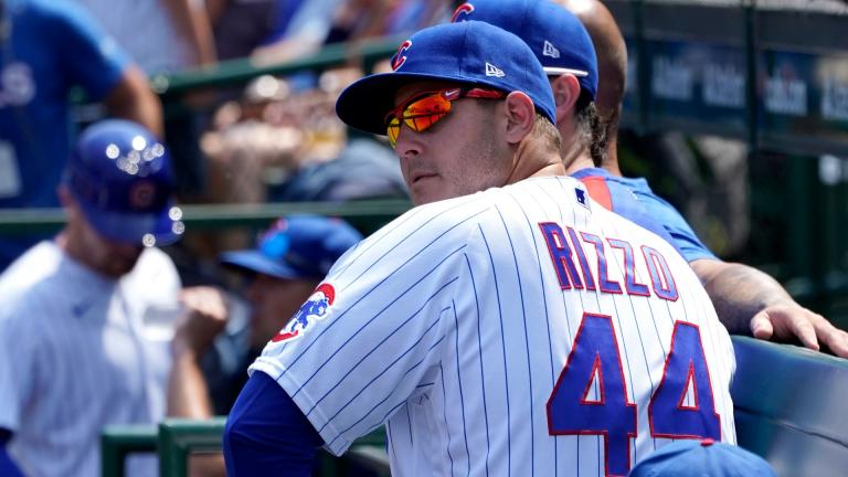 Chicago Cubs' Anthony Rizzo sits on the bench during a baseball game against the Cincinnati Reds Thursday, July 29, 2021, in Chicago. (AP Photo / Charles Rex Arbogast)