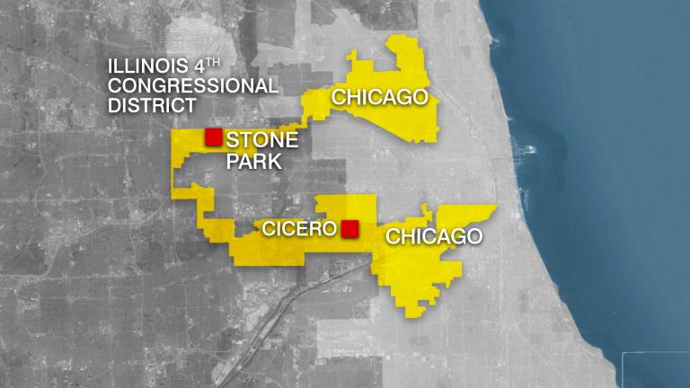 Illinois' oddly shaped 4th Congressional District. (WTTW News)
