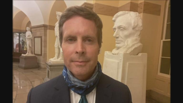 "U.S. Rep. Rodney Davis appears on ""Chicago Tonight"" via Zoom on July 21, 2020. (WTTW News)"