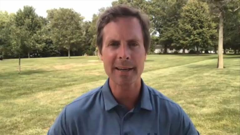 "Illinois U.S. Rep. Rodney Davis appears Monday, Aug. 10, 2020 on ""Chicago Tonight"" via Zoom. (WTTW News)"