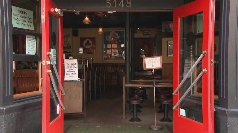 Restaurant and bar restrictions aimed at curbing the spread of COVID-19 have resulted in empty tables across Illinois and some temporary closures, including at Andersonville pub Hopleaf. (WTTW News)