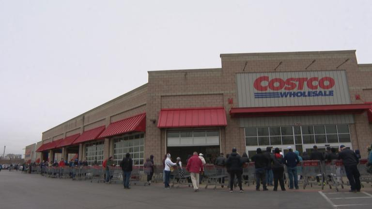 Shoppers line up outside Costco in Lincoln Park on Monday, March 16, 2020. (WTTW News)