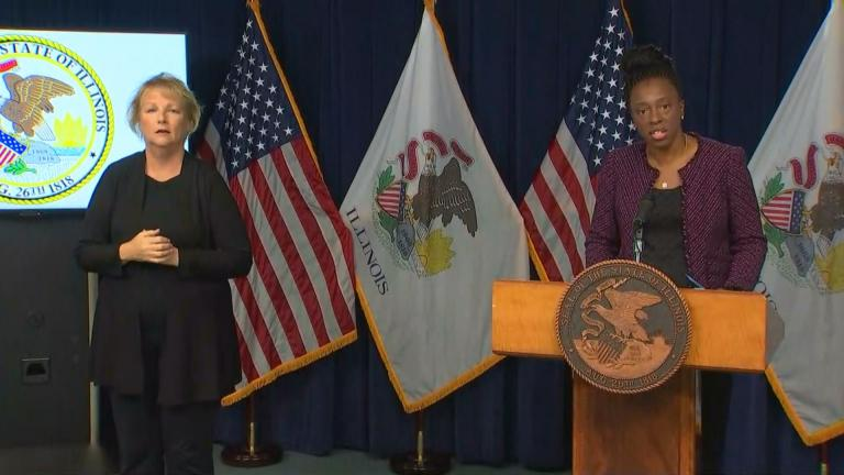 Illinois Department of Public Health Director Dr. Ngozi Ezike speaks Friday, Oct. 23, 2020 during Gov. J.B. Pritzker's COVID-19 press briefing. (WTTW News)