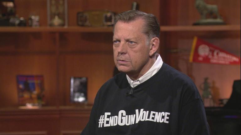 "The Rev. Michael Pfleger appears on ""Chicago Tonight"" on Sept. 19, 2019. (WTTW News)"