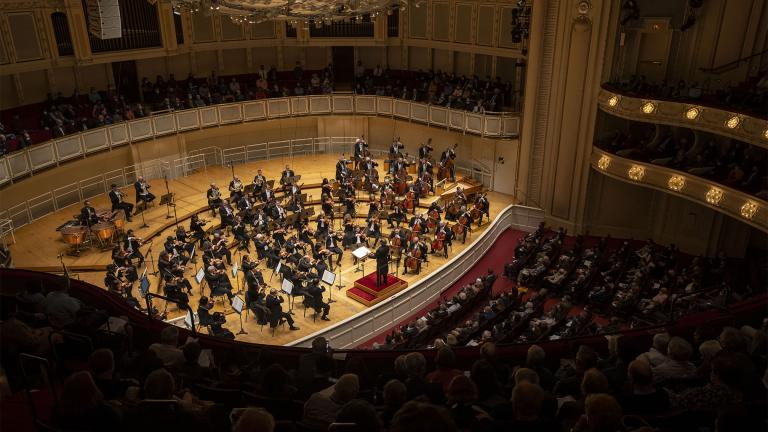Riccardo Muti leads the Chicago Symphony Orchestra in Beethoven's Eroica Symphony in their first concert together since February 2020 to open the CSO's 131st season, Sept. 23, 2021. (Clay Baker / Chicago Symphony Orchestra)