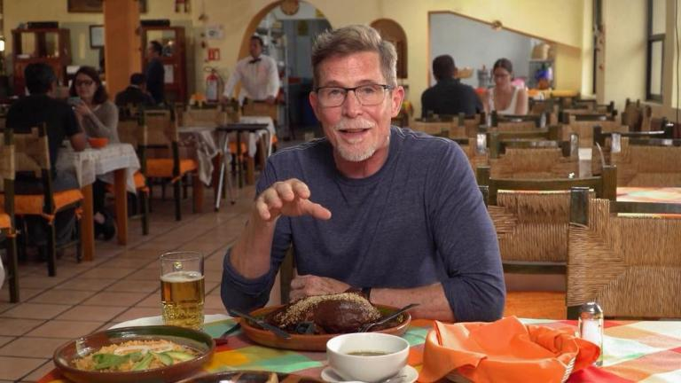 "Chef and restaurateur Rick Bayless, as pictured in a screenshot from the PBS show ""Mexico — One Plate at a Time."""