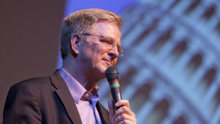 """Rick Steves speaks at the Edmonds Center for the Arts (Courtesy """"Rick Steves' Europe"""")"""