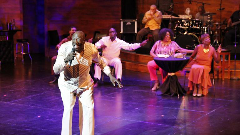 "From left: Theo Huff (obscured), Rick Stone, Dwight Neal, Lamont ""Harmonica Man"" Harris, Cynthia Carter and Rhonda Preston in ""Rick Stone the Blues Man"" at Black Ensemble Theater. (Credit: Alan Davis)"