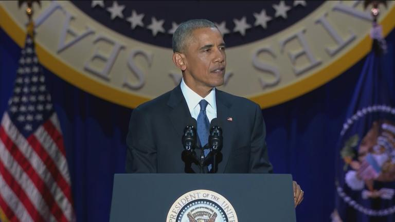 Former President Barack Obama delivers his farewell address in Chicago on Jan. 10, 2017.