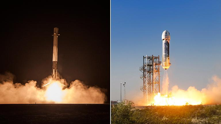 SpaceX's Falcon 9, left, and Blue Origin's New Shepard. (SpaceX / Flickr, Franke360 / Wikimedia)