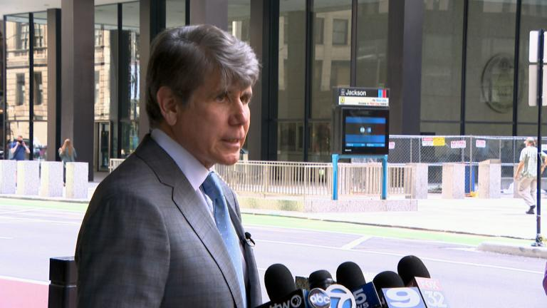 Former Illinois Gov. Rod Blagojevich talks about his criminal complaint outside the Dirksen Federal Building on Monday, Aug. 2, 2021. (WTTW News)