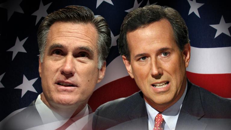 Mitt Romney (left) and Rick Santorum