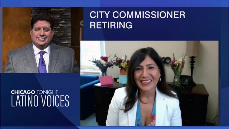 """Commissioner Rosa Escareño joins """"Chicago Tonight: Latino Voices"""" via Zoom to discuss her background, history and legacy as she steps down from Chicago's Department of Business Affairs and Consumer Protection, July 30, 2021. (WTTW News)"""