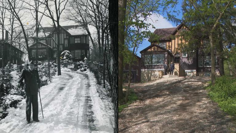 This historic photo, left, shows Paul Harris at the bottom of the driveway outside his Morgan Park home, which is today undergoing renovations, right. (Historic photo courtesy Rotary International)