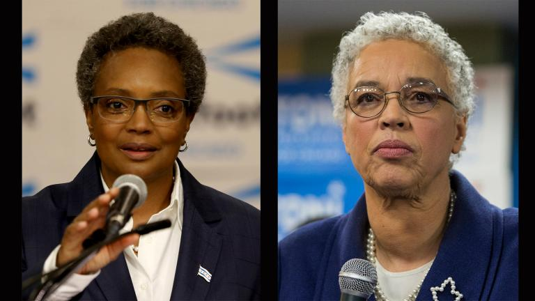Mayoral candidates Lori Lightfoot, left, and Toni Preckwinkle give speeches Tuesday, Feb. 26 at their respective election night parties. (Photos by Tyler LaRiviere and Ashlee Rezin / Chicago Sun-Times via AP)