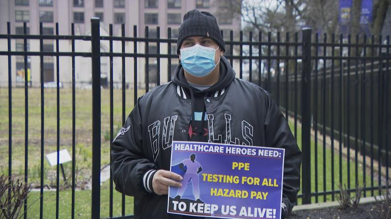 Members of SEIU Healthcare say front-line workers like nurses assistants, food service workers and medical technicians don't have access to necessary personal protective equipment and testing. (WTTW News)