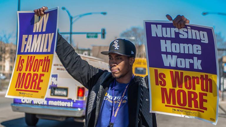 A member of SEIU Healthcare Illinois protests in early April. (Courtesy of SEIU Healthcare Illinois Facebook)