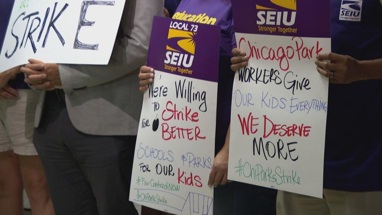 SEIU Local 73 members gather at City Hall on Tuesday, Oct. 1, 2019. (WTTW News)
