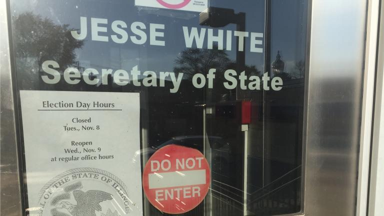 A sign at the Chicago North Secretary of State Facility, located at 5401 N. Elston Ave., announces the office is closed until Wednesday. (Paris Schutz / Chicago Tonight)