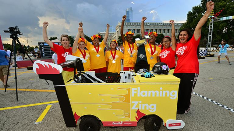 The annual Icebox Derby encourages teen girls to pursue careers in STEM through a unique, hands-on experience. (Courtesy of ComEd)