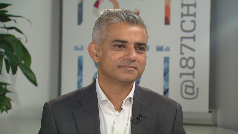 Mayor of London Sadiq Khan in conversation with Phil Ponce on Sept. 16. (Chicago Tonight)