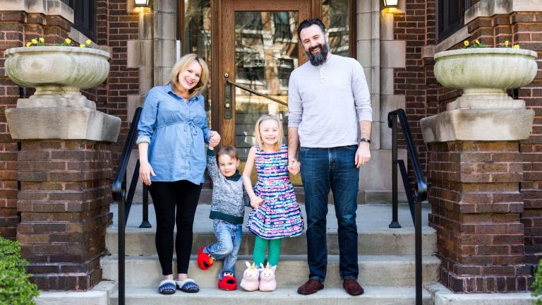 The Salesberry family, from left, Christina, Finn, Rosie and Brandon pose for a picture in April. (Courtesy of Christina Salesberry)