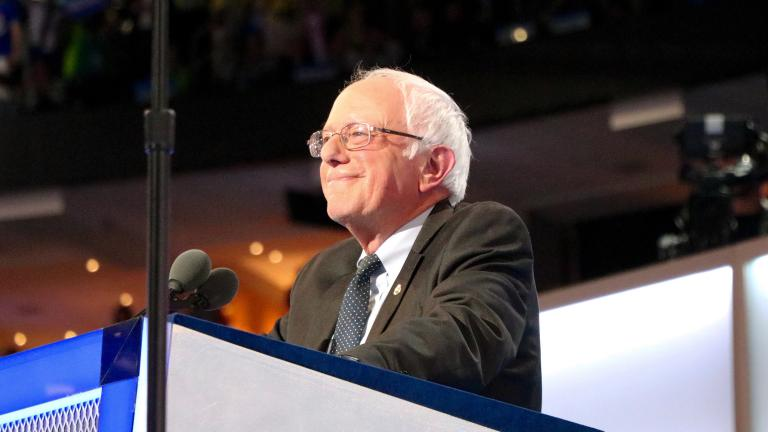 Former Democratic presidential candidate, Vermont Sen. Bernie Sanders delivers the final speech of the first day of the Democratic National Convention in Philadelphia. (Evan Garcia / Chicago Tonight)