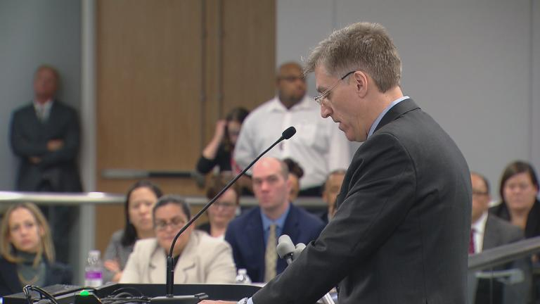 CPS Inspector General Nick Schuler addresses the Chicago Board of Education on Wednesday. (Chicago Tonight)