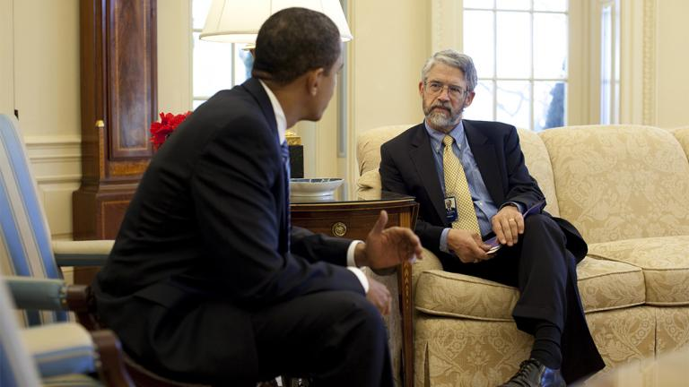 Former President Barack Obama with Science and Technology Adviser John P. Holdren (U.S. National Archives)