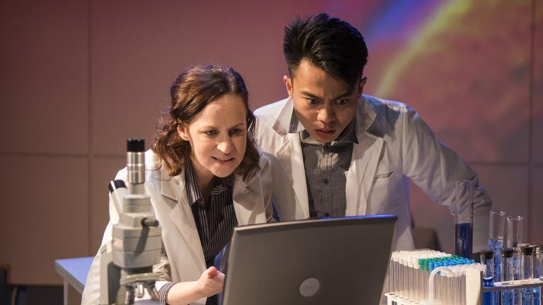 "Ashley Neal and Glenn Obrero in the world premiere of ""Scientific Method."" (Photo credit: Michael Brosilow)"